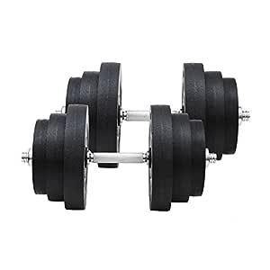 HOMCOM Juego de Mancuernas Pesas de Fitness 40KG Ajustable ...