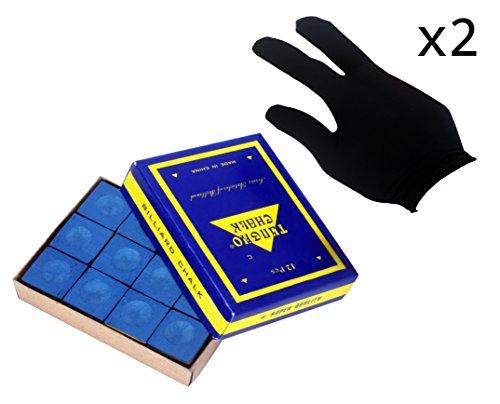 Springen Billiard/Pool Cue Chalk Box, 12 Cubes (Blue),and Fingers Billiards Glove 2pcs