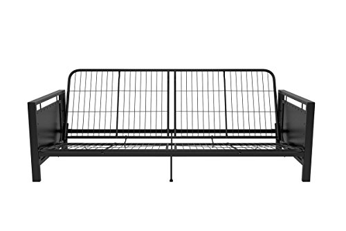 36' Lounge Seat (Metal Arm Futon Frame Modern Industrial Low Profile Design Multi-functional Piece Ideal for Small Spaces Sturdy Metal Frame Mattress Size FULL)