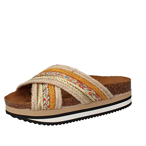 5 PRO JECT - Sandalias de vestir de tela para mujer Beige/Giallo
