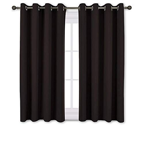 (NICETOWN Bedroom Blackout Curtains and Drapes - Triple Weave Thermal Insulated Solid Grommet Blackout Panels for Basement(One Pair, 52 Inch by 45 Inch, Toffee Brown) )