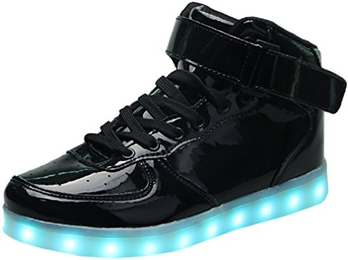 LED Light Up Hi-Top Shoes 11 Color Patterns, USB Rechargeable, Sneakers for Men, Women, Boys, & Girls (34EU/ 1.5-2 US Little Kid, Black Glossy)
