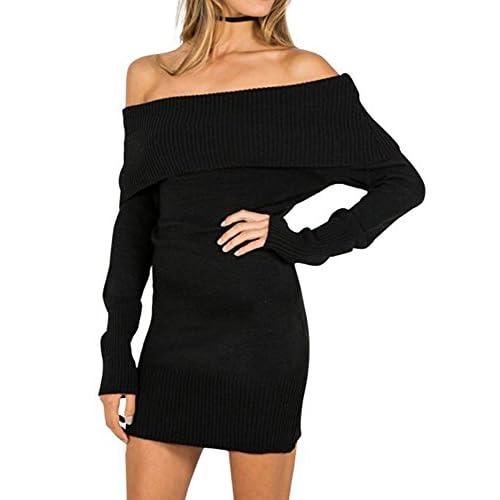 e2e749eb0ce Women s Sexy Off Shoulder Long Sleeve Mini Pencil Bodycon Knitted Sweater  Dress