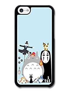 Miyazaki Animation Characters with Totoro No Face Calcifer Fire Illustration case for iPhone 5C