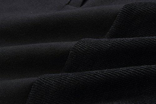 Parka Coat Donna Cappotto Lunghi Maglietta Trench Autunno Lunga Manica Cardigan Giacca Giuntura Lungo Outwear Nero Lnverno Lrregolare Risvolto Caldo ItfBxf