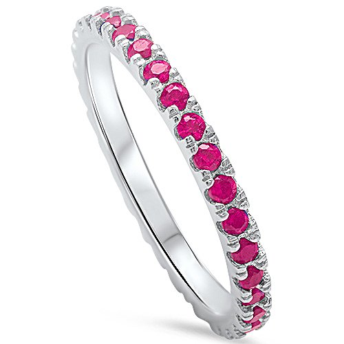 Simulated Ruby Eternity Band .925 Sterling Silver Ring Size (Ruby Diamond Eternity Bands)