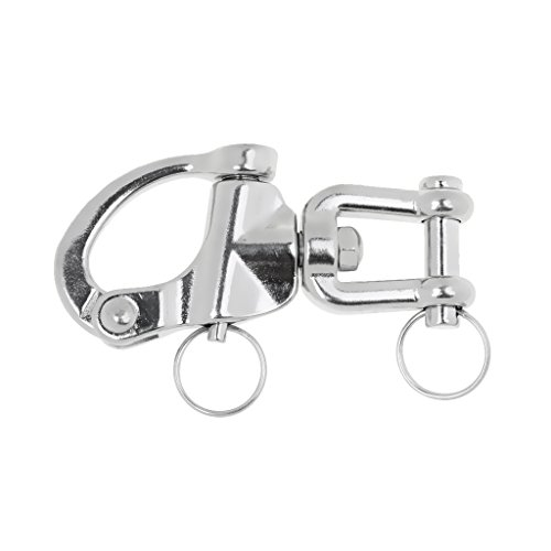 Homyl Swivel Eye Snap Shackle Quick Release Bail Rigging Sailing Boat Marine Stainless Steel Clip with Key Ring - Choice of Size - 9.3 x -