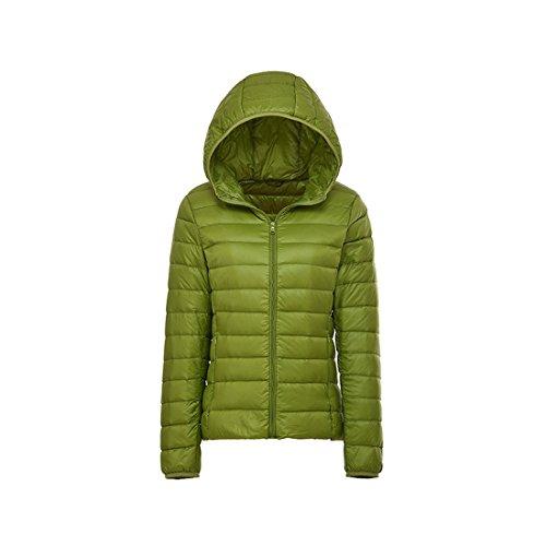 Riempito Cappotto Delle Colore Del Il Puffer Giù Inverno Rivestimento Acvip Incappucciato Solido Leggero Donne Verde PqAfOq
