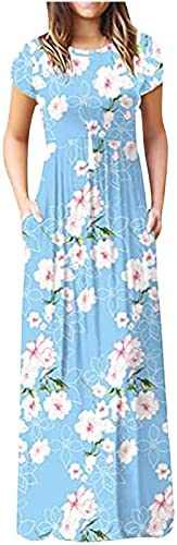 Maxi Dresses for Women Summer Short Sleeve Print Long Dress Loose Empire-Waist Ruched Dress with Pockets