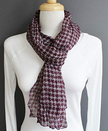Purple Grey houndstooth check lightweight gauzy crinkle 70 long scarf 10 wide -