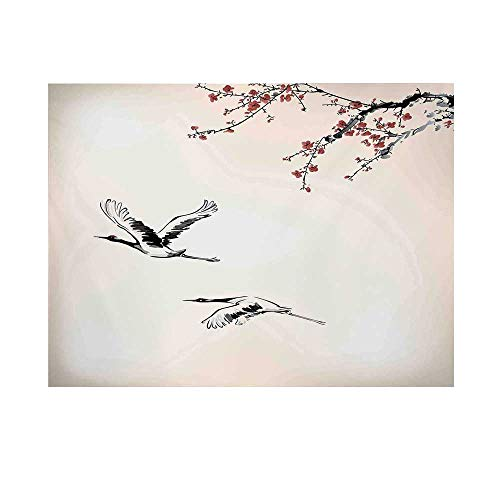 Flying Birds Decor Photography Background,Branches of Japanese Cherry Tree with Flying Swallows in The Air Spring Colors Backdrop for Studio,10x10ft