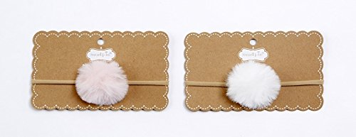 Pie Styles Mud (Mud Pie Girls WSL Faux Fur Pom Pom Headband White)