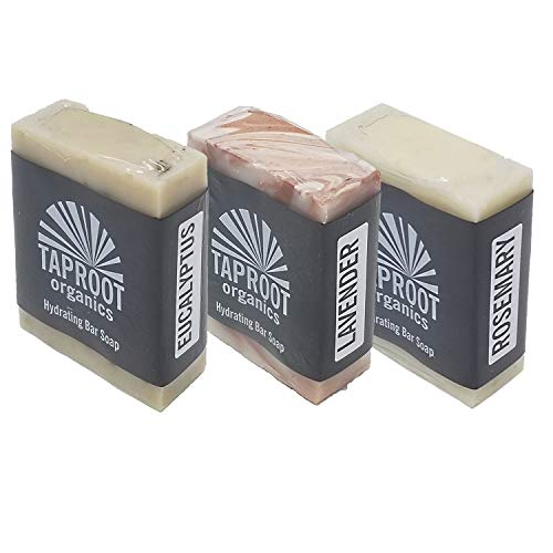 TAPROOT ORGANICS BODY SOAP BARS - Spa Blends Pack Includes Three Natural Face Soap for ENTIRE FAMILY Rosemary, Lavender & Eucalyptus Bar Antifungal, Antibacterial, Cold Process, Vegan (Pack of - Lemongrass Body Wash Soak Muscle