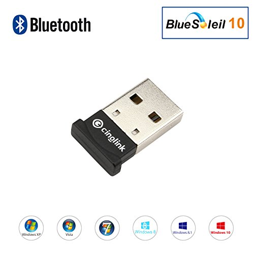 Cinolink Bluetooth 4.0, USB Bluetooth 4.0 Adapter Dongle for PC Laptop Computer Desktop Stereo Music, Bluetooth Speaker,Skype Calls, Keyboard, Mouse, Support All Windows 10 8.1 8 7 XP Vista from Cinolink