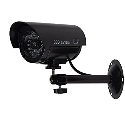 WALI Solar Powered Bullet Dummy Fake Simulated Surveillance Security CCTV Dome Camera Indoor Outdoor with One LED Light