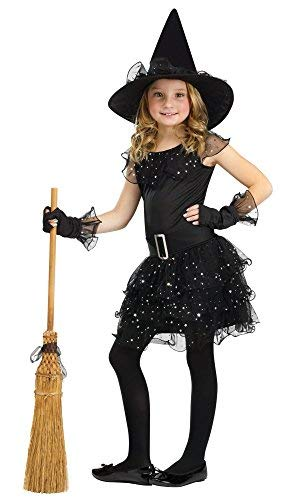 Fun World Glitter Witch Costume, Black, Medium 8-10