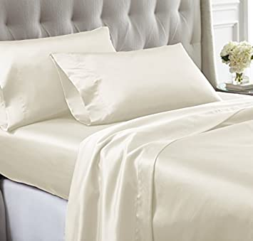 SATIN SILK 1000 THREAD COUNT SUPER SOFT 4PC SHEET SET IVORY SOLID EXTRA DEEP