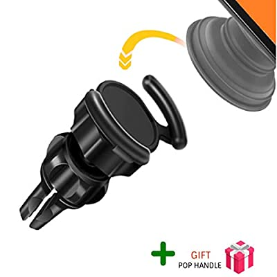 Car Phone Mount︱Air Vent Phone Holder for Car︱2 in 1 Bundle︱Used with Pop Handle/Clip︱Compatible with Samsung, iPhone, Huawei, etc︱360° Capability ─ by FRILL (Black Mount/White Pop Handle)