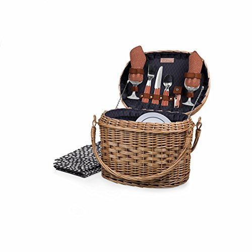 Picnic Time Romance Willow Picnic Basket with Deluxe Service for Two, Adeline Collection