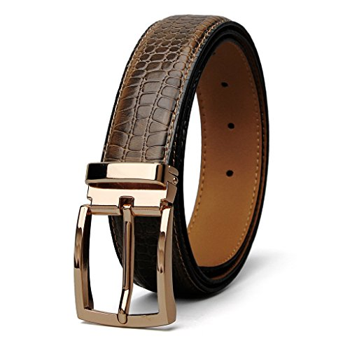 XIANGUO Men's Leather Belt Crocodile Belt For Men (Gold Crocodile Belt)
