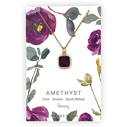 Doodle Beads Amethyst Natural Stone Necklace w/Card, February Birthstone Necklace
