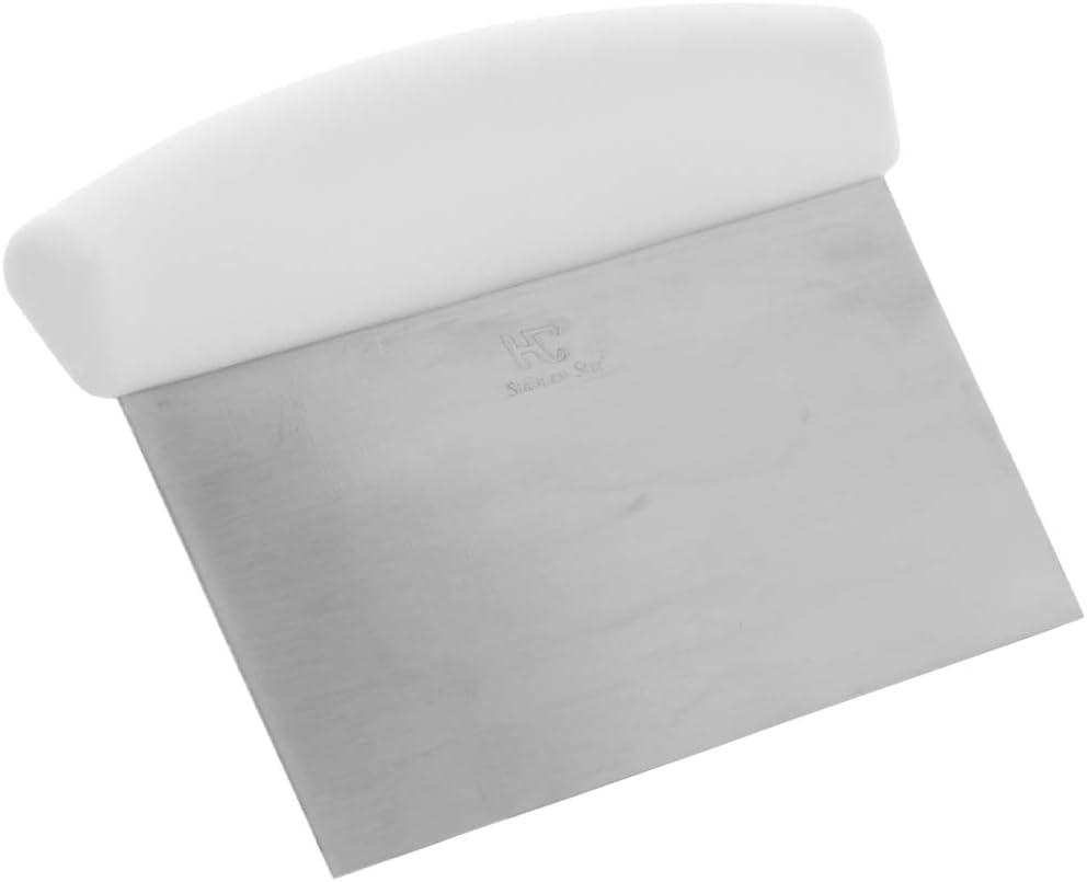 مكشطة مقعد 15.24 سم × 10.16 سم بمقبض أبيض من تيزوريو، مكشطة عجينة من الفولاذ المقاوم للصدأ ومكشطة المعجنات وقاطع
