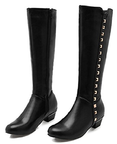 Idifu Moda Donna Borchiati Alti Stivali Chunky Bassi Alti Stivali Da Equitazione Con Cerniera Nera