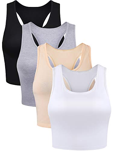 4 Pieces Basic Crop Tank Tops Sleeveless Racerback Crop Sport Cotton Top for Women (Color Set 2, L Size)