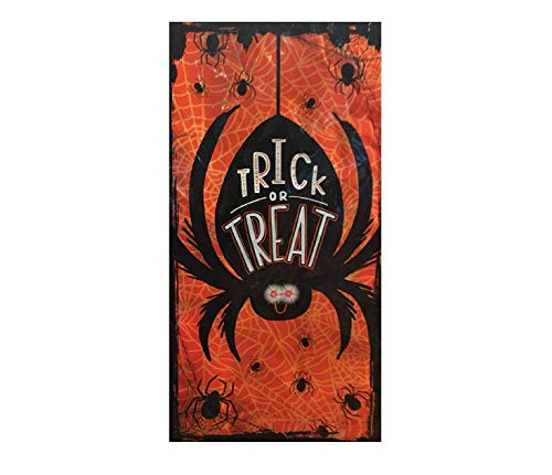Light Up Glowing Halloween Door Cover Wall Poster for Halloween Decoration or Backdrop Prop (Trick or Treat Hanging Spider)]()