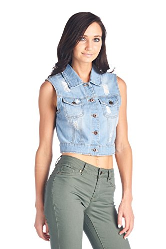 ff9c9ca5ce Blue Age Womens Denim Jean Jacket and Sleeveless Vest