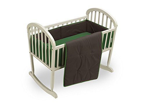 Baby Doll Bedding Reversible Cradle Bedding, Brown/Green by BabyDoll Bedding