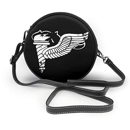 - Vintage Army Pathfinder Badge Subdued Veteran Woman Round Leather Shoulder Bags Tote Beach Bags Bag