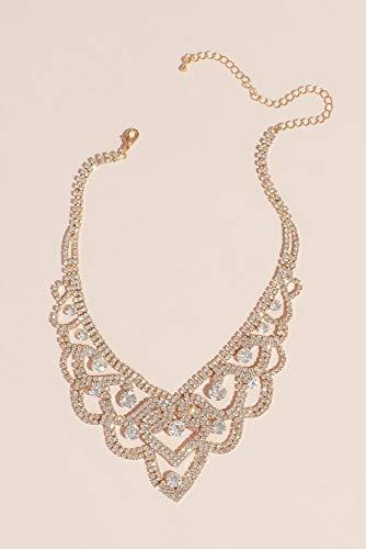 David's Bridal Looping Crystal Tiara Necklace Style DMJ13249, Gold