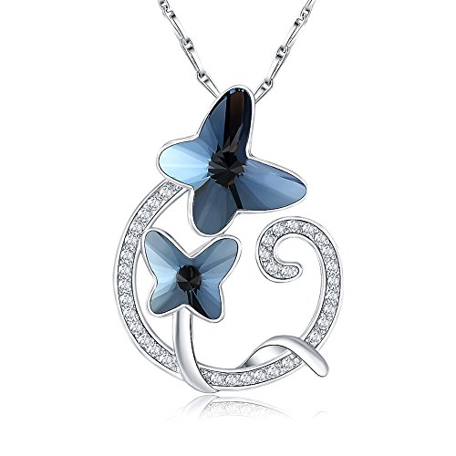 Citled Double Butterfly Crystal from Swarovski Necklace for Women Love Heart Drop Pendant Platinum Plated CZ Crystal Inlaid 17 with Gift Box