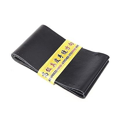 Negro ZATOOTO Funda Volante Cuero Fundas Volante Cosida Cubierta Volante Cuero Cosida de 37-38.5cm con Aguja e Hilo