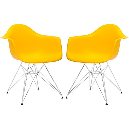 Poly and Bark Eames Style Molded Plastic Eiffel Armchair (Set of 2), Yellow