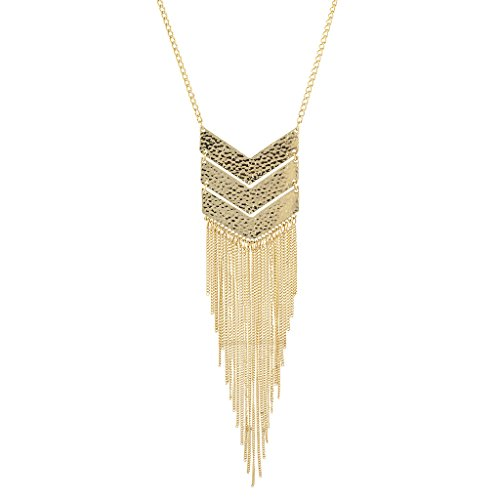 Lux Accessories Goldtone Geo Tassel Fringe Fashion Jewelry Pendant Necklace ()