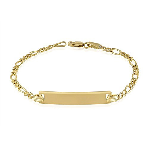 Balluccitoosi Baby Id Bracelet - 14k Gold Children's Bar Bracelets- Small Unique Jewelry for Girls and Boys- Free Personalized and Engraved With Newborn Kids Name