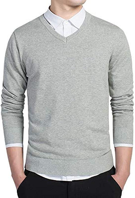 YUHUALI nowy męski sweter modny bawełna męski sweter z dekoltem w serek: Odzież