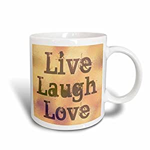 mug_37954_1 Patricia Sanders Inspirations - Stained Glass Peach Live, Laugh, Love- Inspirational Words- Motivational - Mugs - 11oz Mug