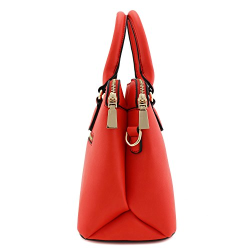 Dome Double Bag Zip Satchel Top Coral Handle Classic qISOHawS