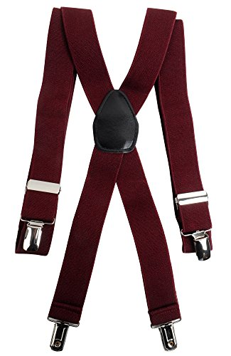 BG Clip Suspenders CS1301, Burgundy