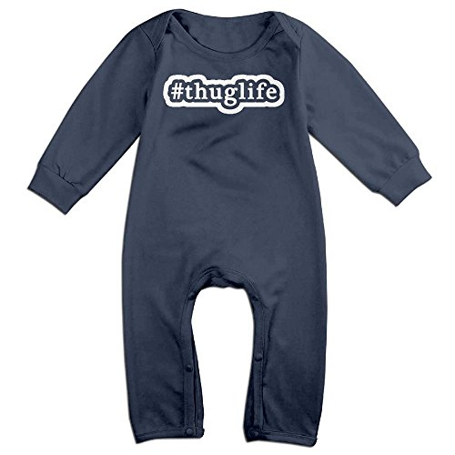 Orz Infants Thug Life Long Sleeve Bodysuit Baby Onesie Baby Climbing Clothes Outfits For 0-24 Months Navy 6 M