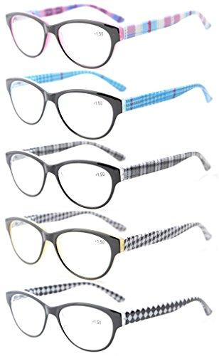 Eyekepper 5-Pack Readers Spring Hinges Retro Cat-eye Reading Glasses Women +1.25 ()