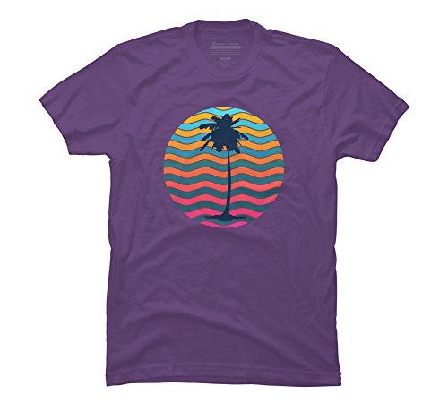 Sunset Summer Sea Tides Coconut Beach Men's Small Purple Graphic T - Coconut Purple Water