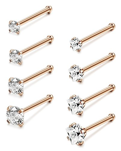 - Jstyle 22G 8 Pcs a Set Stainless Steel Nose Rings Studs Piercing Body Jewelry 1.5mm 2mm 2.5mm 3mm RSG
