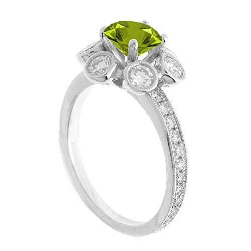 (14K White Gold 7/8ct TDW Floral Diamond Engagement Ring With 3/4ct Peridot Round Center (G, SI1-VS2))