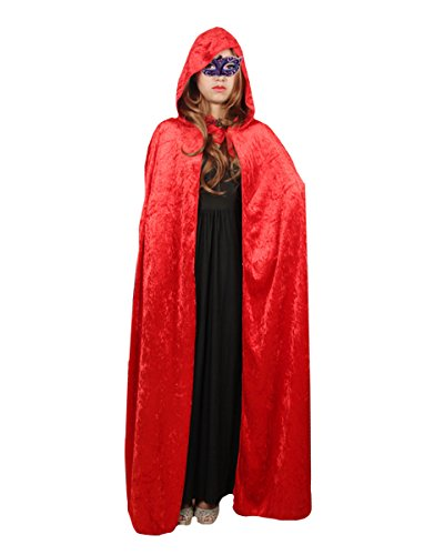 Dress Ideas Halloween Red Costume (Dolores Halloween Velvet Cloak Full Length Hooded Cape Cosplay Costume Masquerade Ball Fancy)