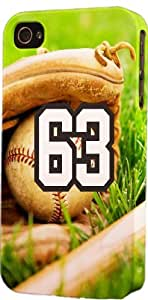 Baseball Sports Fan Player Number 63 Plastic Snap On Decorative iPhone 6 Case