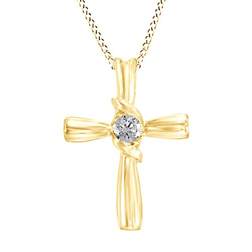 Jewel Zone US White Natural Diamond Solitaire Cross Pendant Necklace in 14K Solid Yellow Gold (1/10 Ct) ()